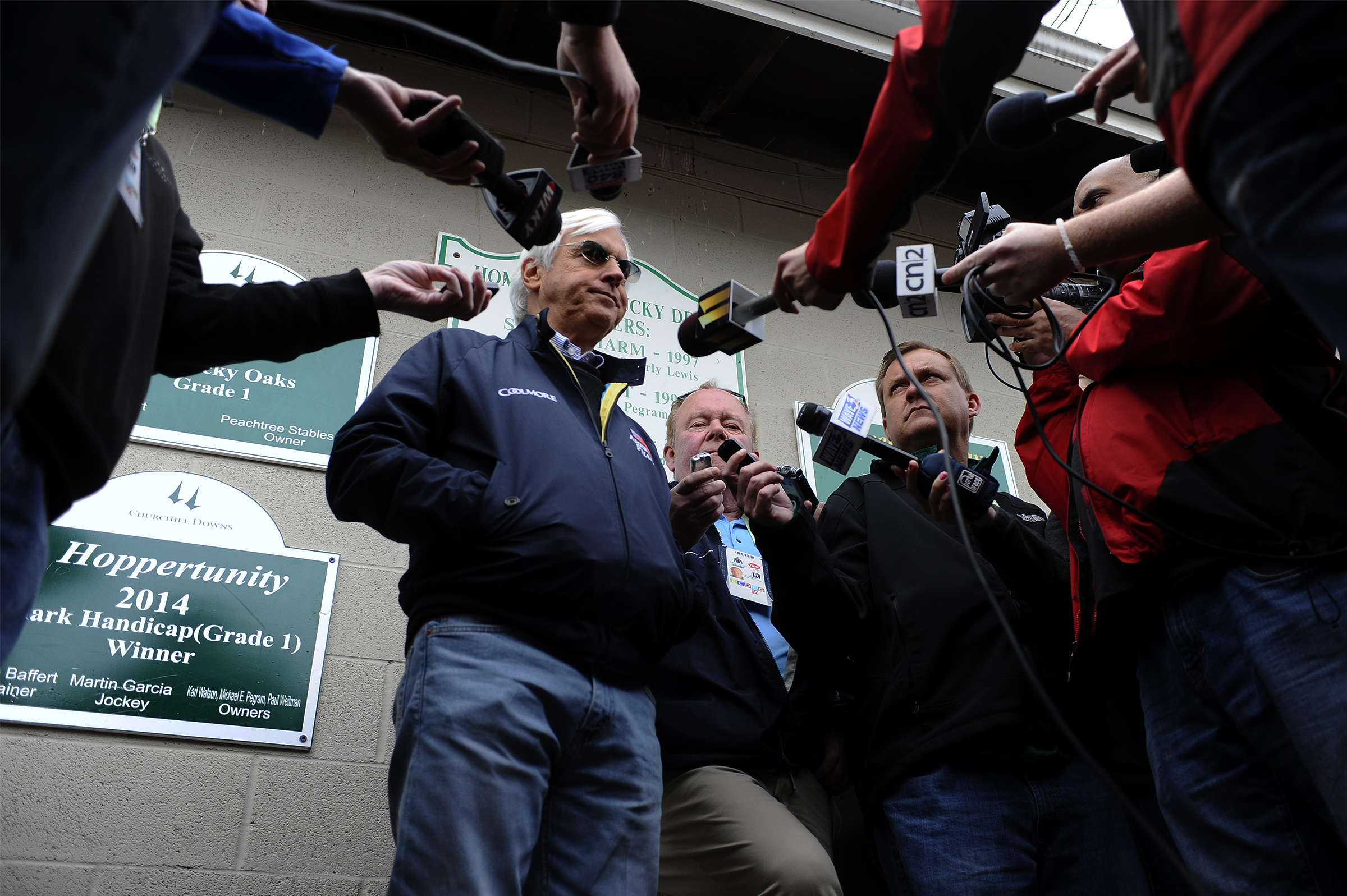 Legendary trainer Bob Baffert talks to the media outside of his stable on the backside of Churchill Downs on Wednesday, May 4, 2016.