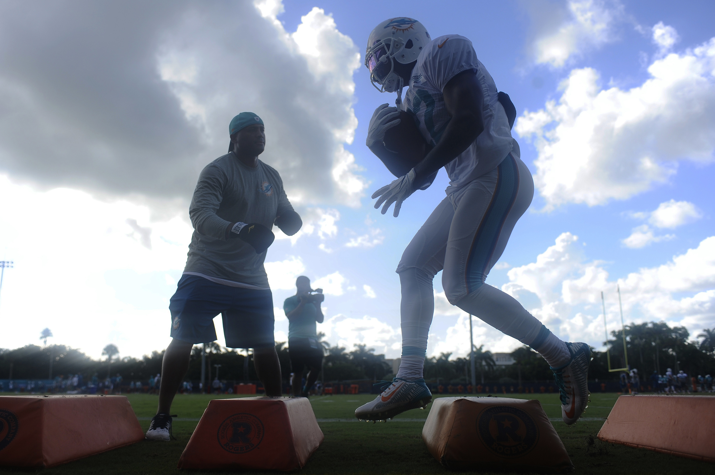 Miami Dolphins running back Isaiah Pead goes through drills during day three of the Miami Dolphins training camp held at the Dolphins Training Facility on Sunday, July 31, 2016.