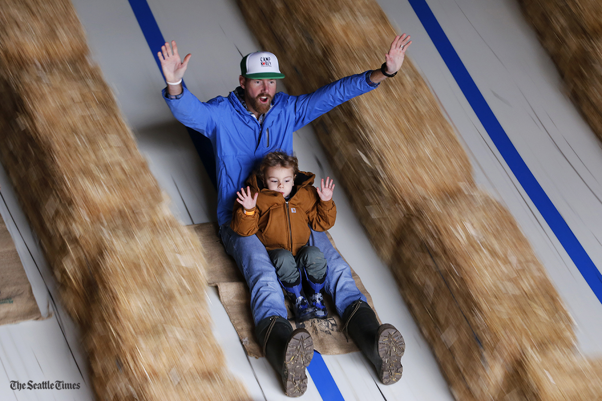 Brett Bauer and his 2-year-old son Evan of Brothell, Washington, hold their hands up while going down a slide at Bob's Corn & Pumpkin Farm in Snohomish on Sunday, October 16, 2016.