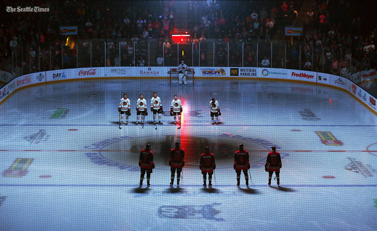 The Seattle Thunderbirds line up against the Portland Winterhawks prior to their game at the ShoWare Center on Friday, October 21, 2016.