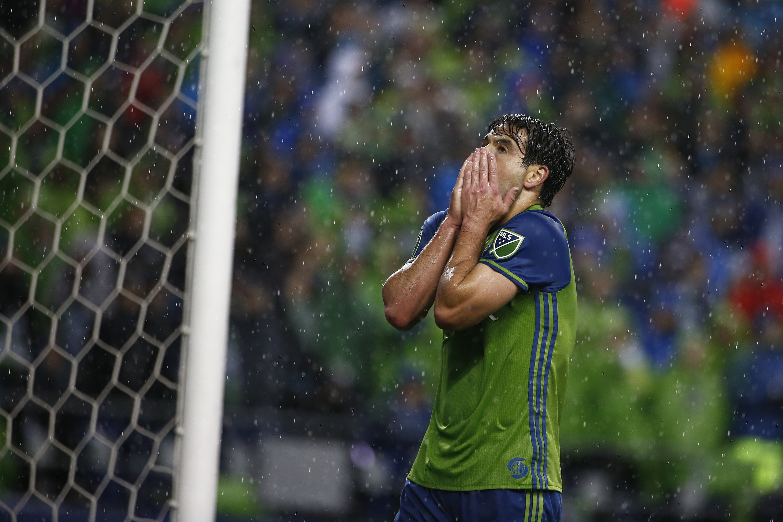 Seattle Sounders midfielder Nicolas Lodeiro (10) reacts after a near miss in the second half of their MLS Western Conference Final game against the Colorado Rapids at CenturyLink Field on Tuesday, November 22, 2016.