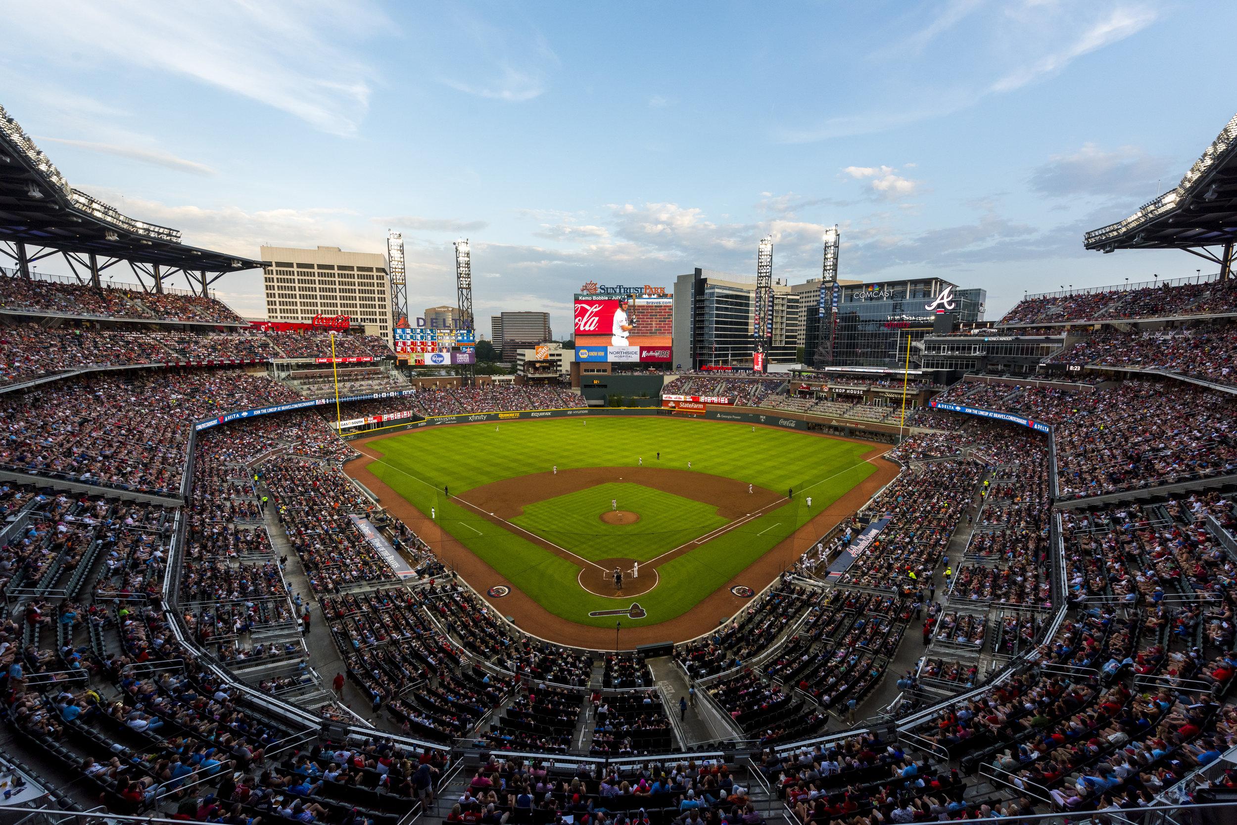 ATLANTA, GA - JULY 4: Overall of SunTrust park against the Houston Astros at SunTrust Park on July 4, 2017 in Atlanta, Georgia. The Astros won 16-4.