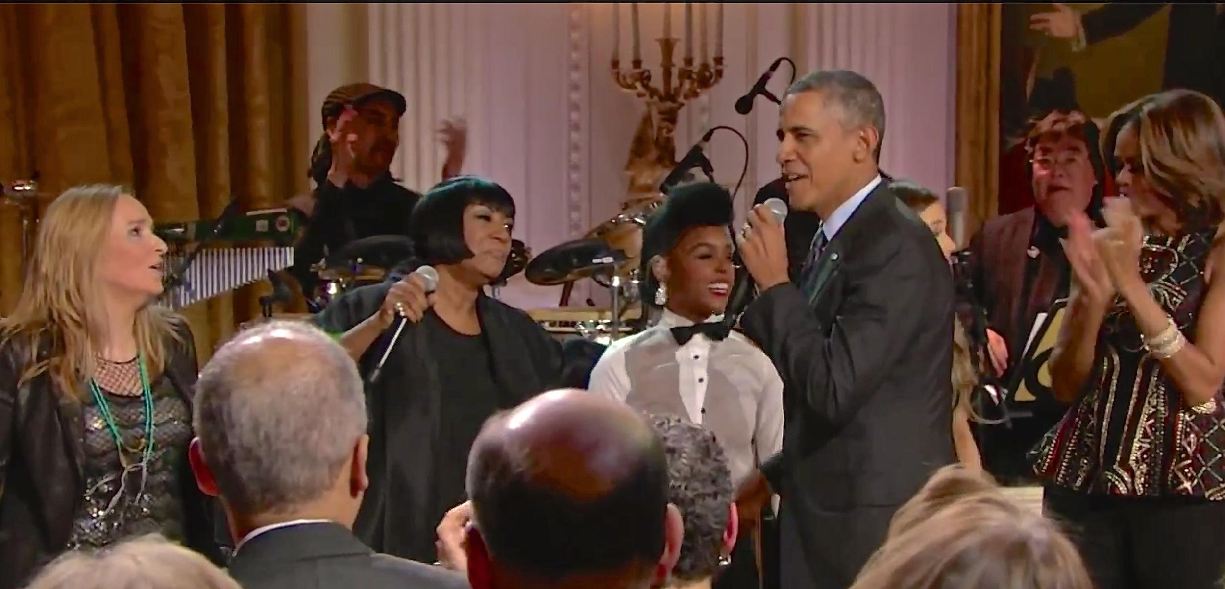 Melissa Etheridge, Patti LaBelle, Janelle Monáe, President Barack Obama and First Lady Michelle Obama