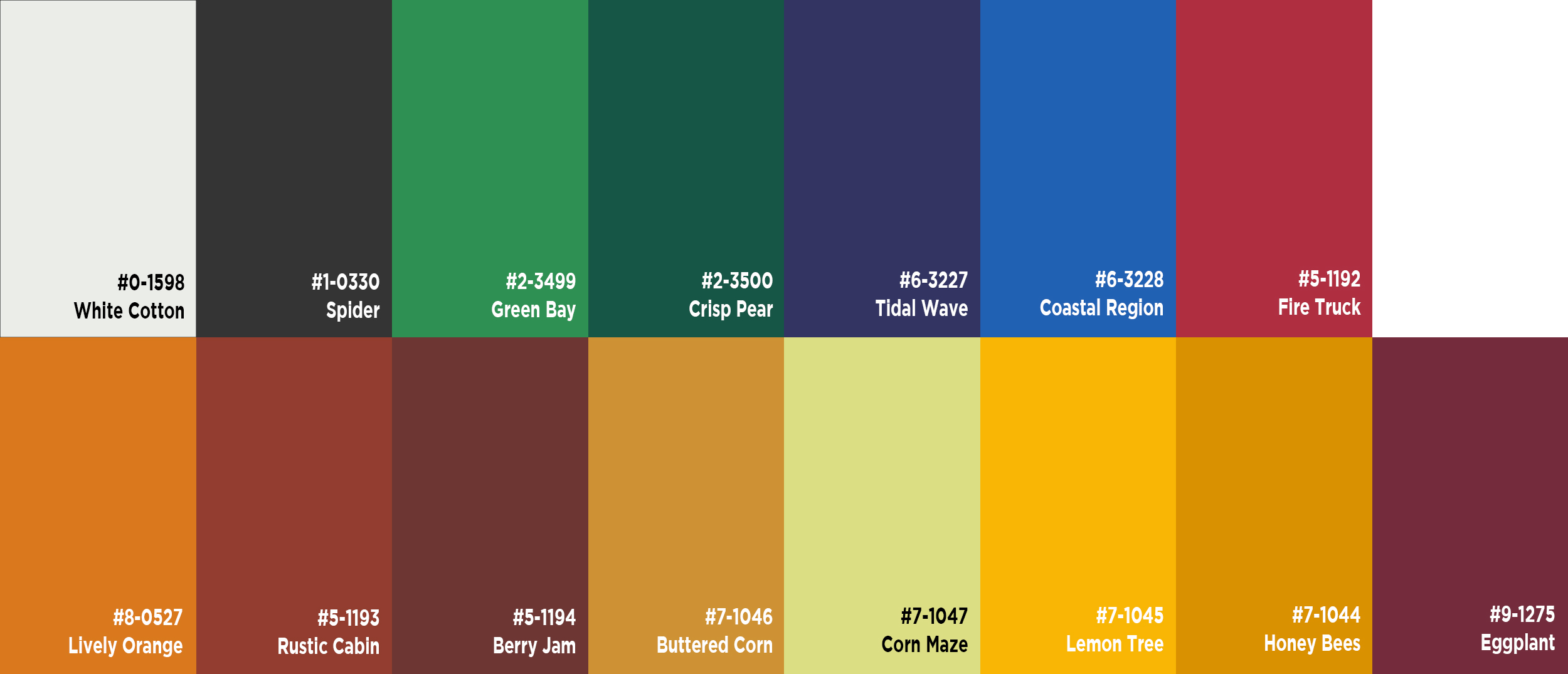 Base Colors - Click on color palette to learn more. Contact us to discuss Custom Color options - we can make/match virtually any color. *Colors may differ in shade based on your computer monitor screen settings - we recommend ordering a free physical sample for in-person review.