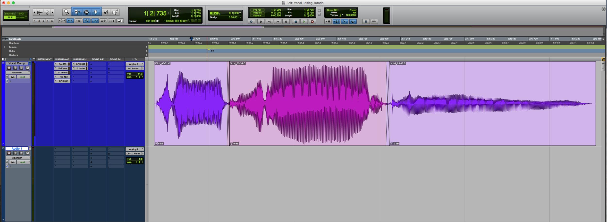 Vocal Editing Comp Crossfades