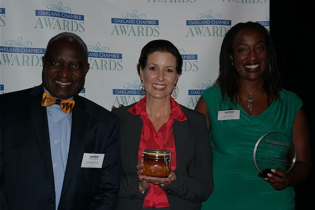 Major Libby Schaaf with Kokomon and Amana after everyone received a Special Sauce award