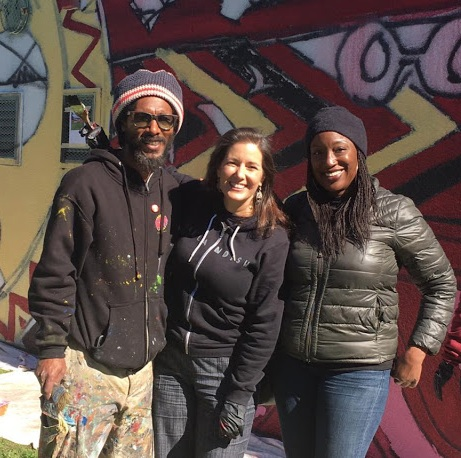 Lead Mural Artist Andre Jones (pictured on the left) was more than excited to have the likes of Mayor Libby Schaaf (pictured in the middle) and longtime community champion and AHC Executive Director Amana Harris (pictured on the right) by his side on his co-designed works of art.