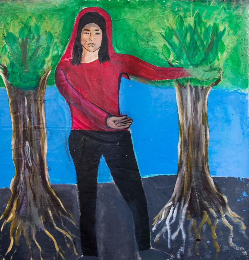 "Life-sized self portrait by ArtEsteem student Isabella Alonzo, ""Let Us In"""