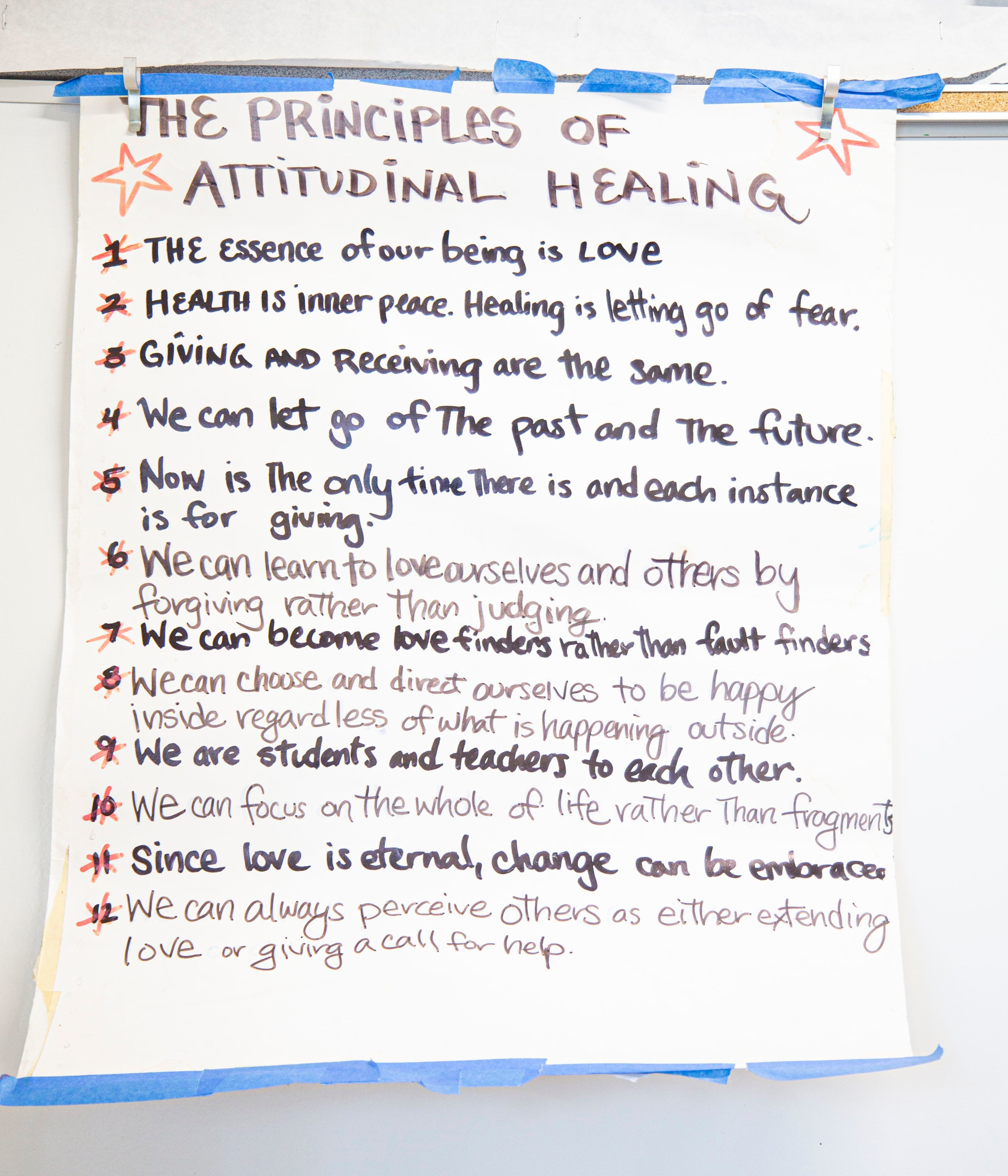 Students learn the 12 Principles of Attitudinal Healing. (click to enlarge)