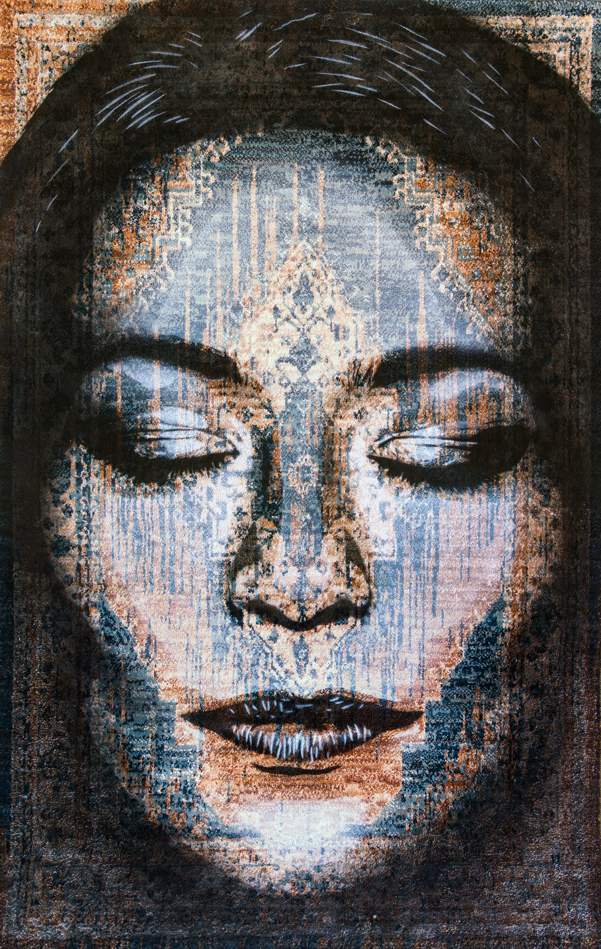 HADI  - Spray paint on Traditional Carpet / 170x105 cm / 2018