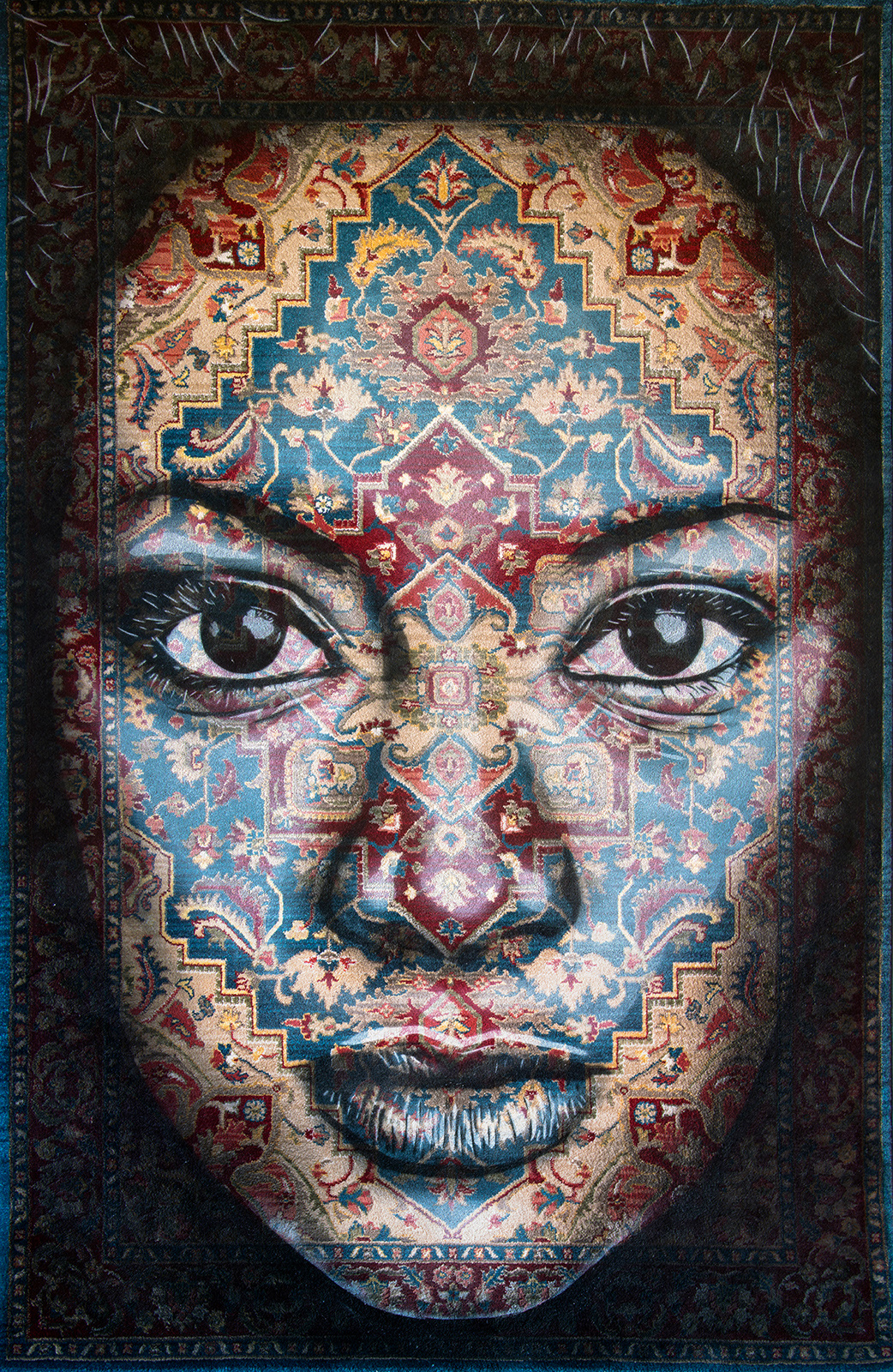 HALU  - Spray paint on Traditional Carpet / 250x150 cm / 2018