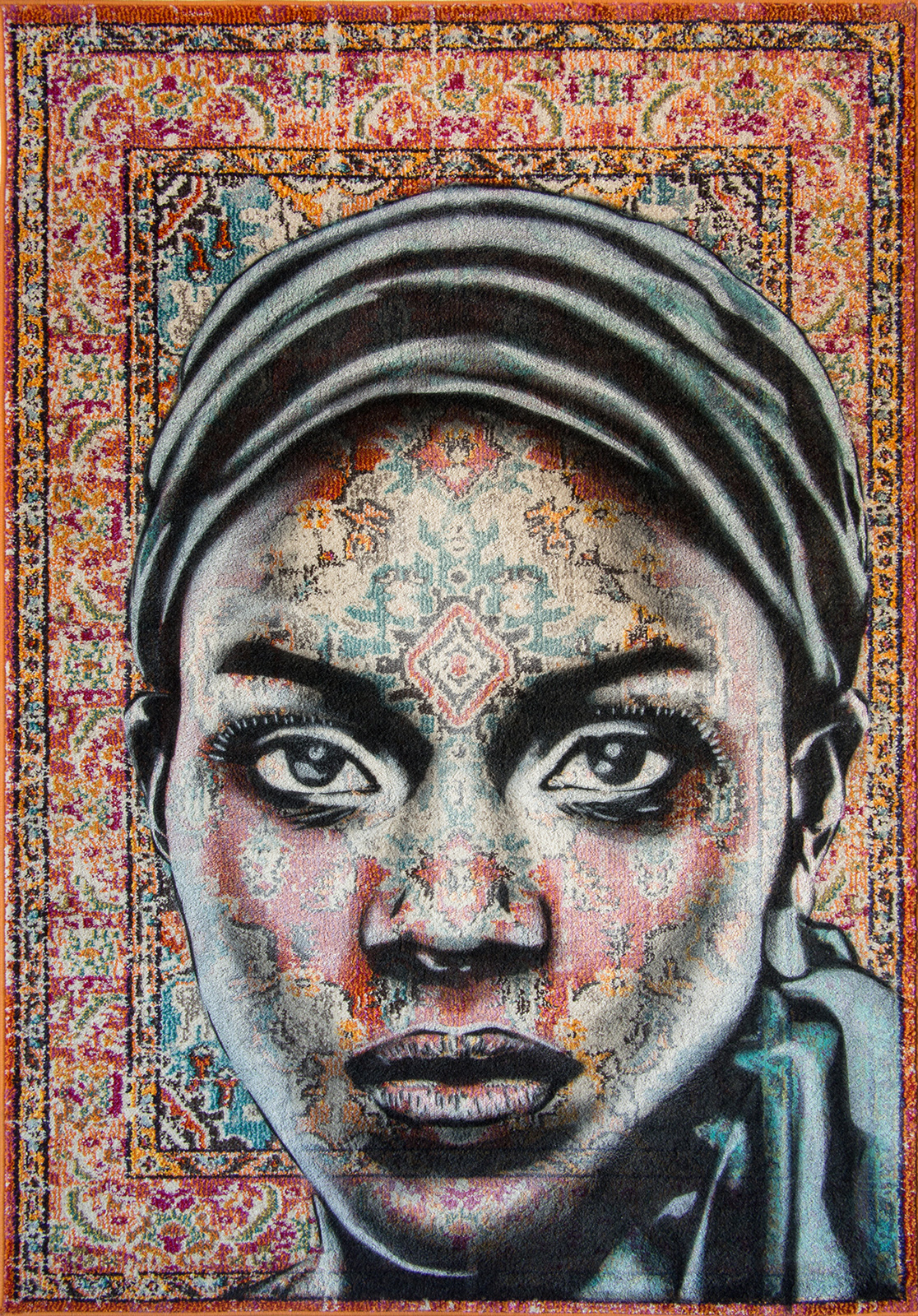 AARDE  - Spray paint on Traditional Carpet / 175x122 cm / 2018