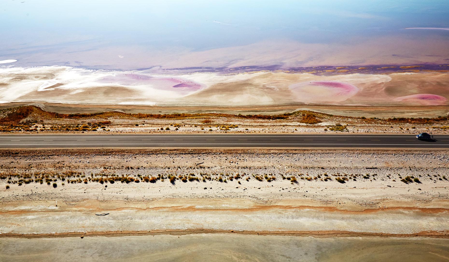 Aerial Photography Derek Israelsen Salt Flats Roadside