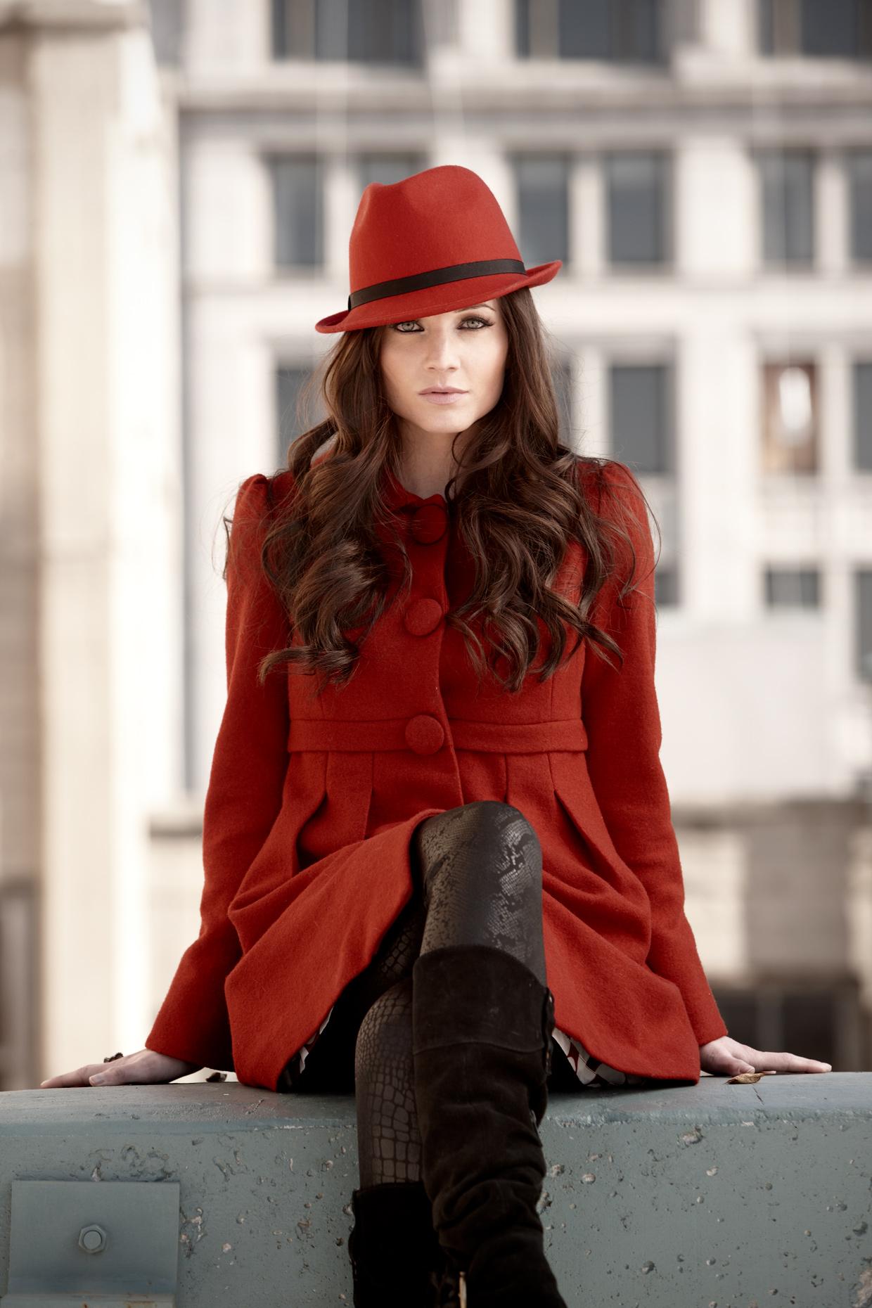 Lifestyle photography Derek Israelsen Red Hat Coat