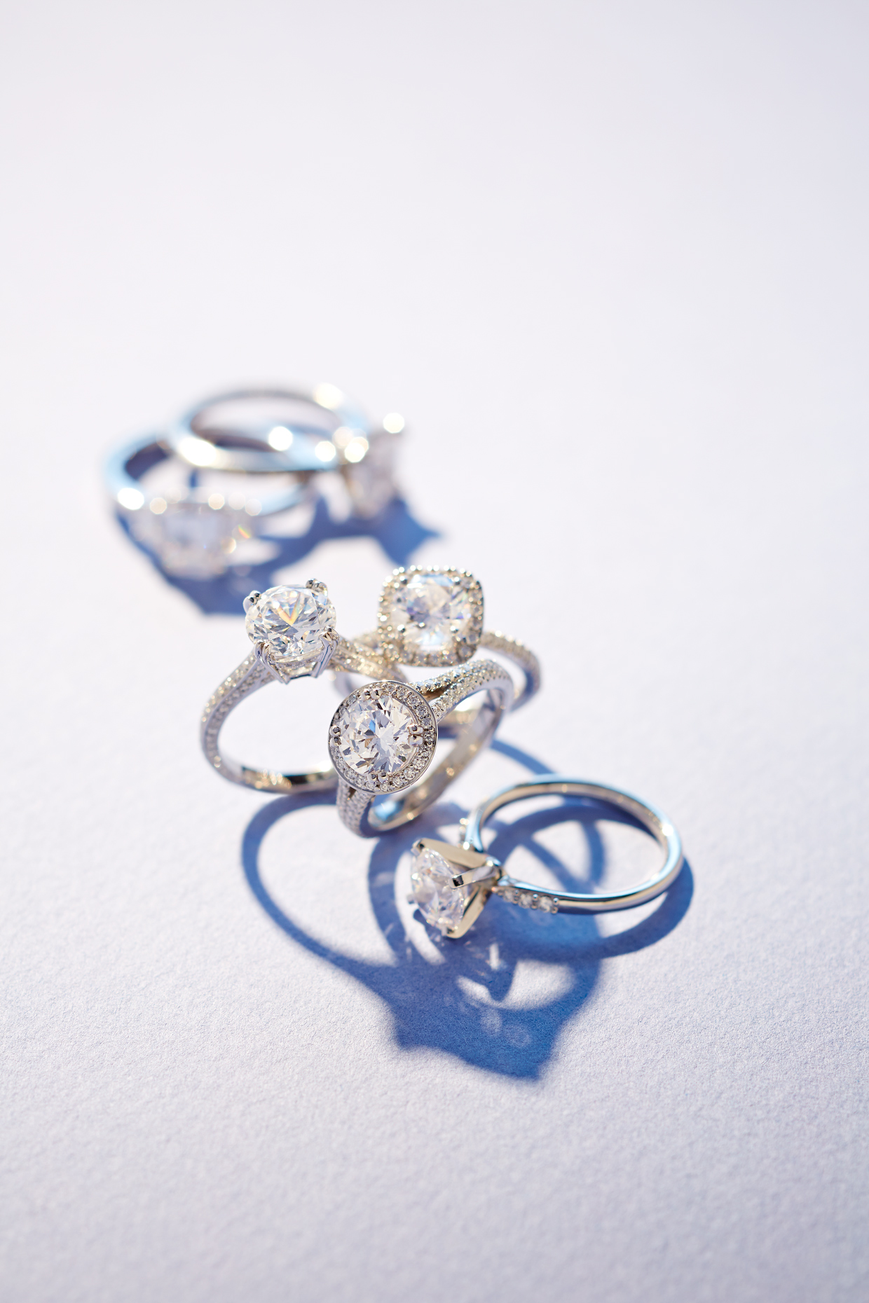 Product photography Jewelry Derek Israelsen Round Diamond Rings