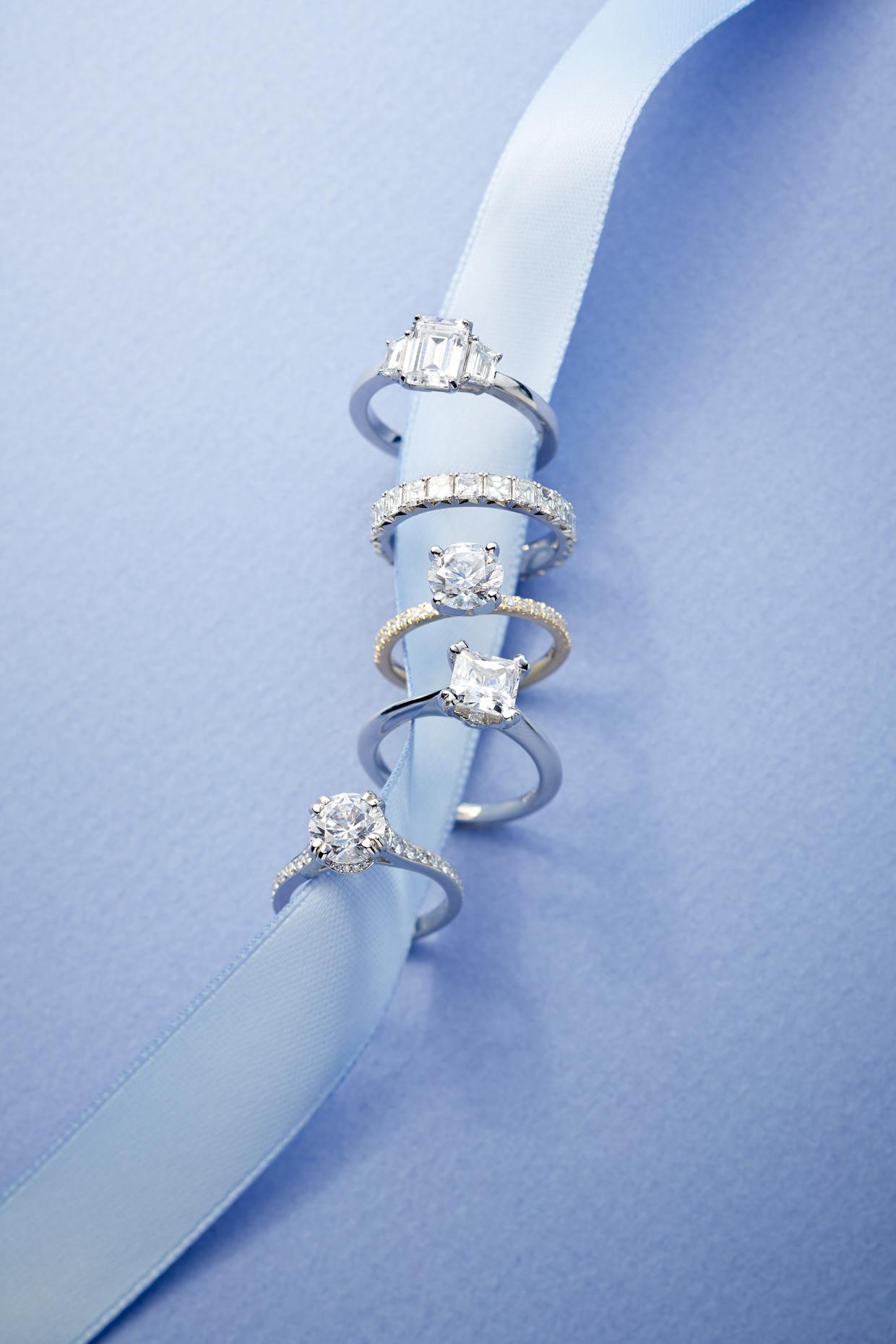 Product photography Jewelry Derek Israelsen Diamond Rings Ribbon