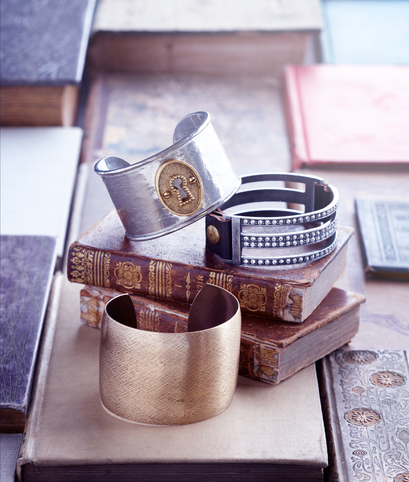 Product photography Jewelry Derek Israelsen Metal Bracelets Books