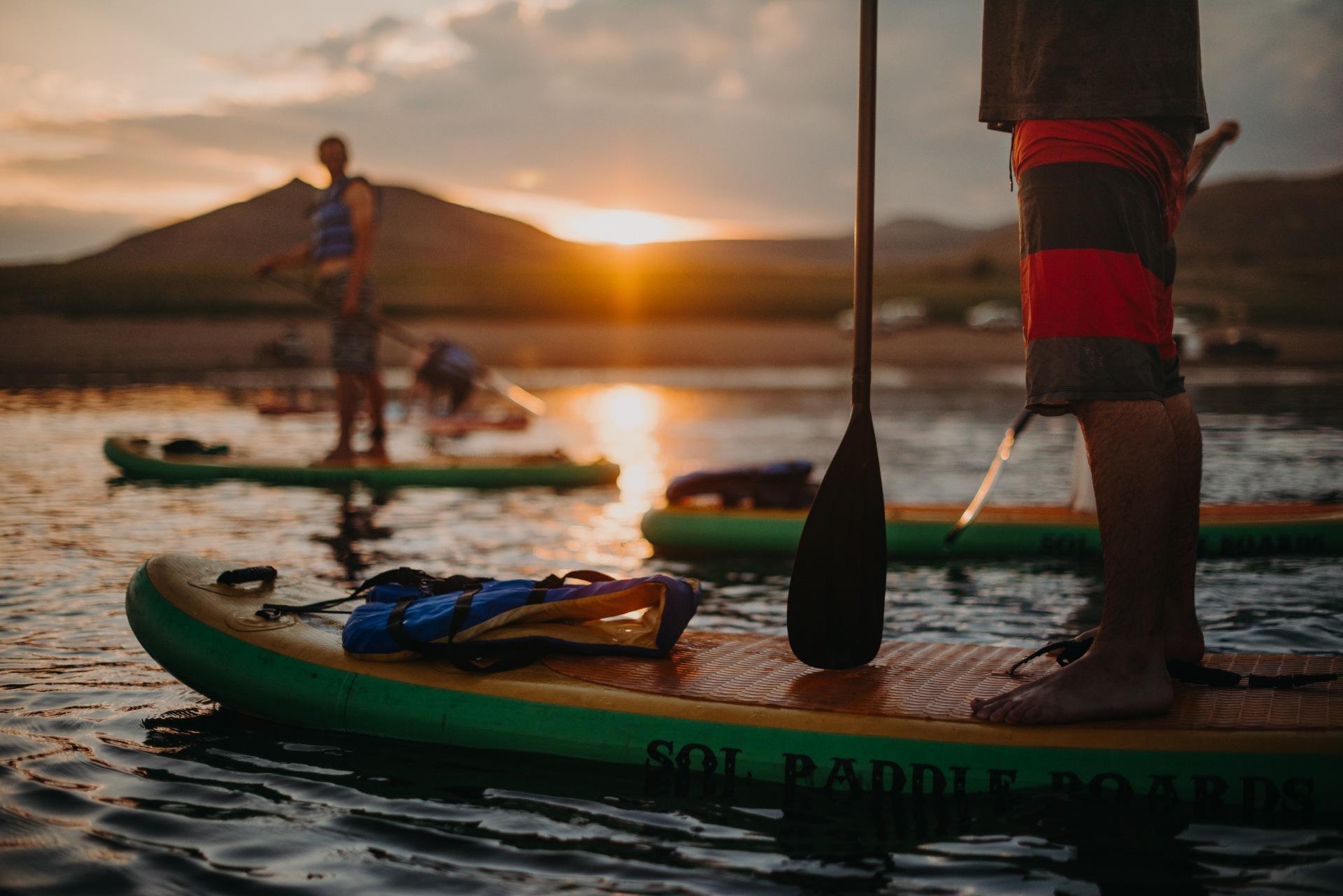 Enjoying a sunset paddle on the Blue Mesa