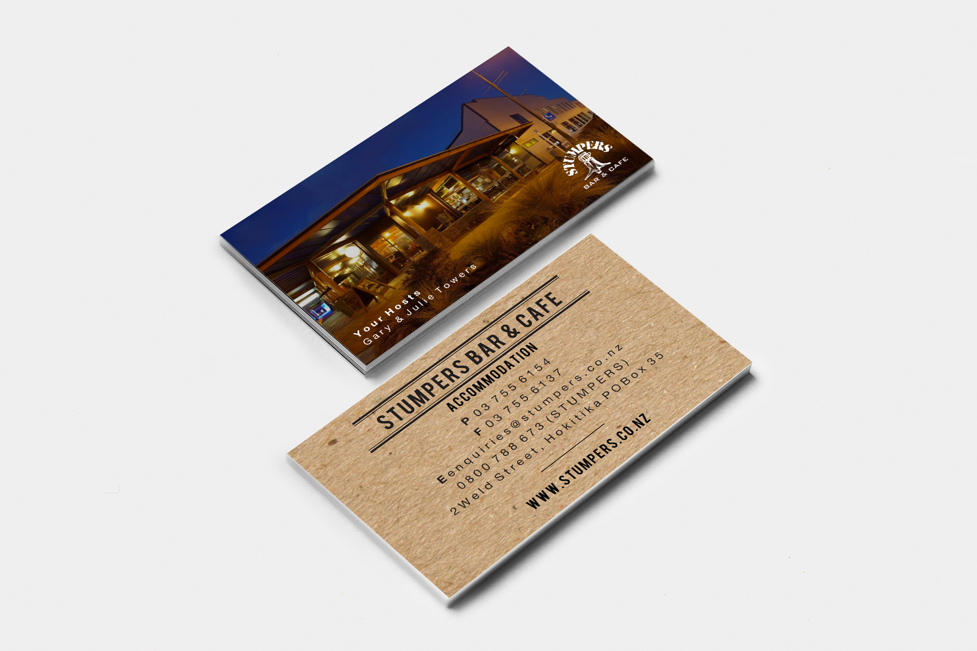 Stumpers Bar & Cafe Business Card Design
