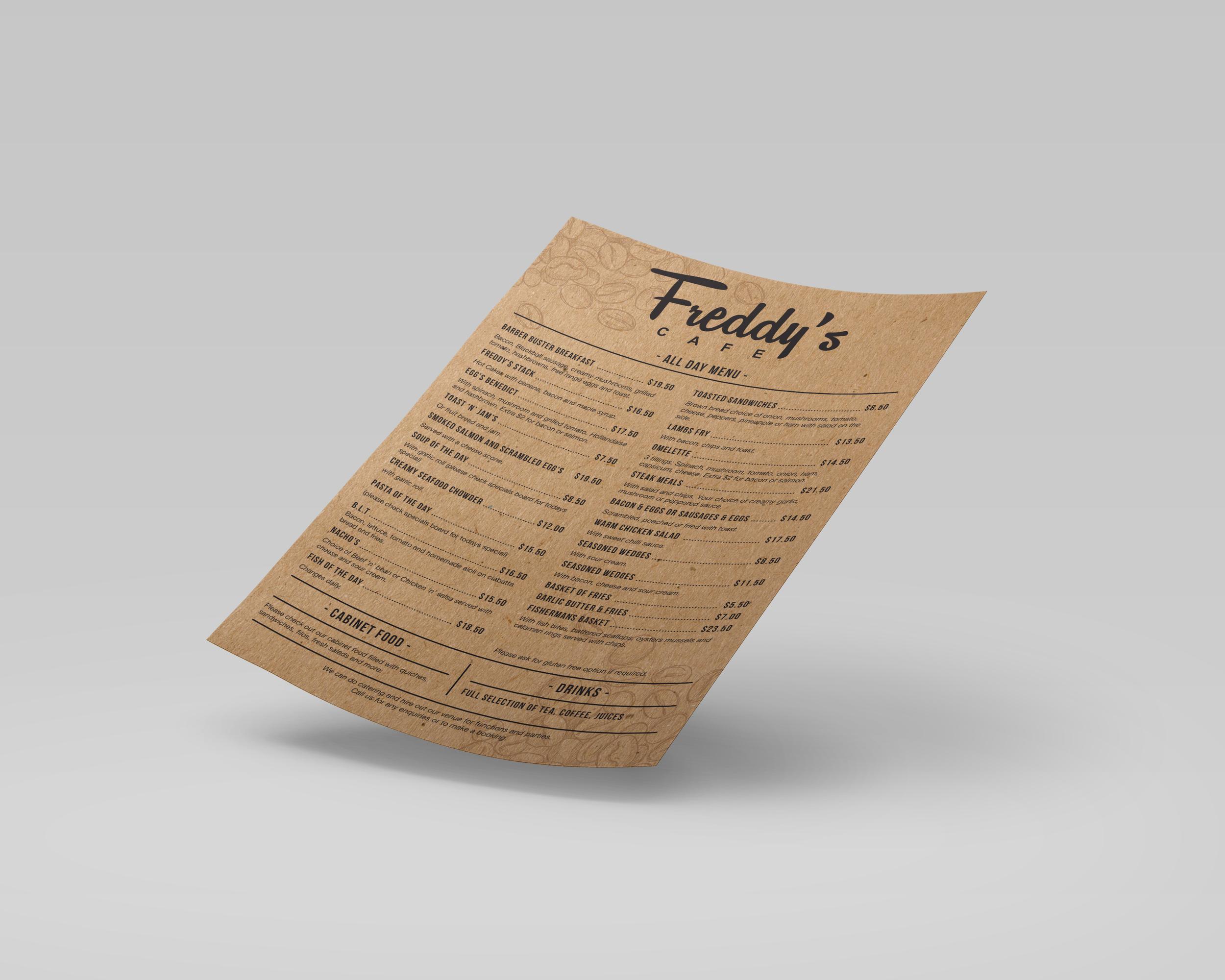 Freddy's Cafe Menu Design