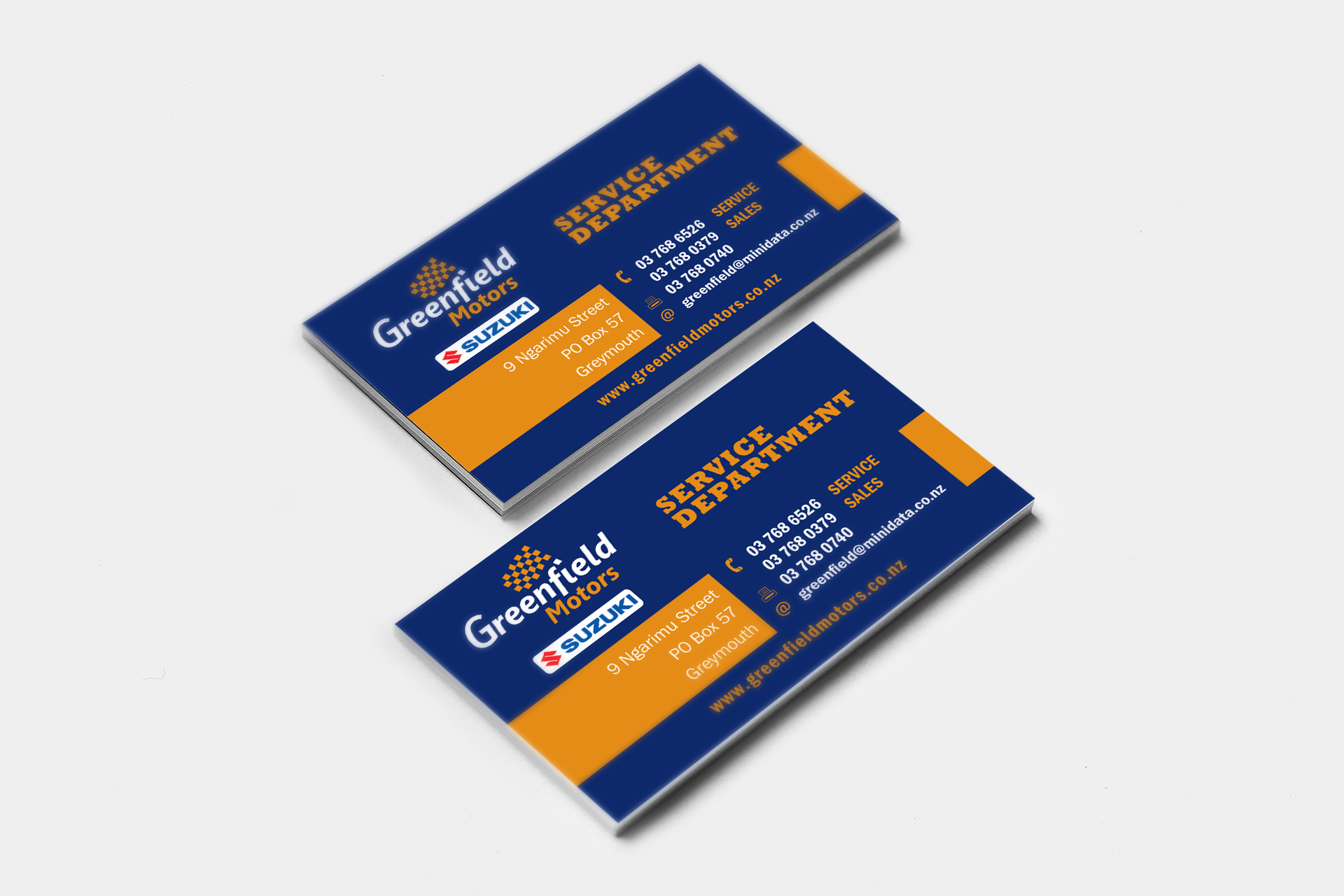 Greenfield Motors Business Card Design