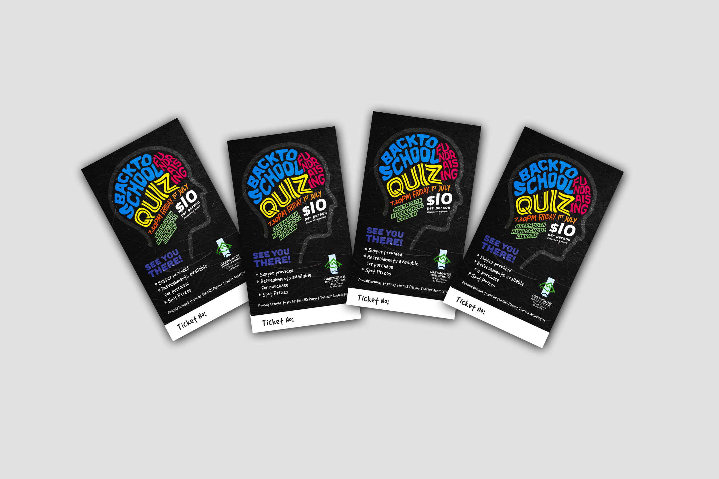 Greymouth High School Quiz Ticket Design