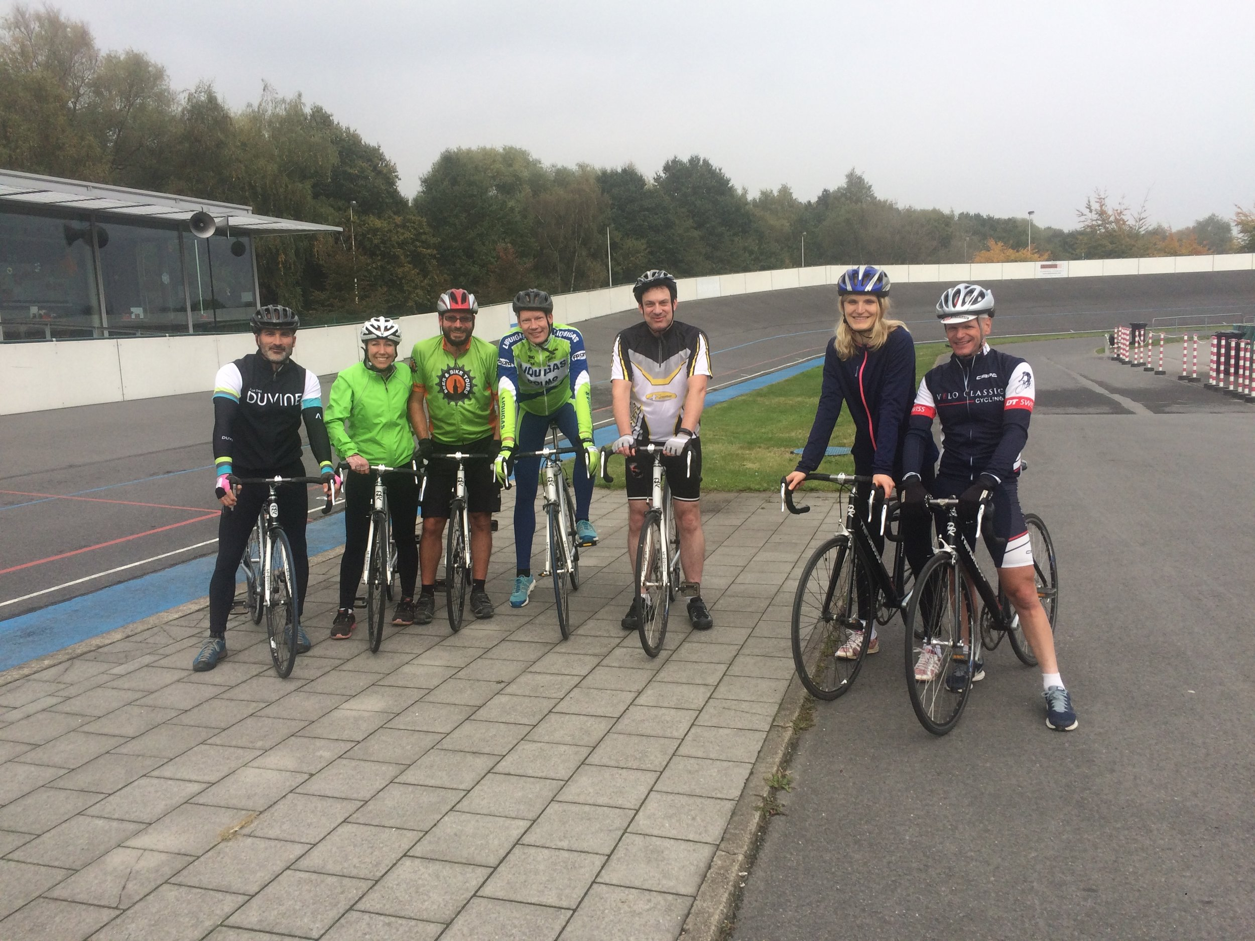 Scouting crew trying our hand at Velodrome racing and BMX stunts