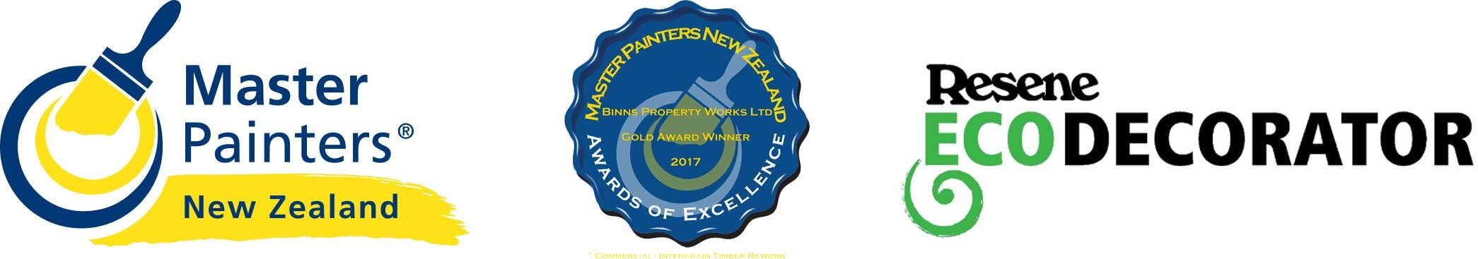 Master Painters, Gold Award and Resene Eco Decorators logos