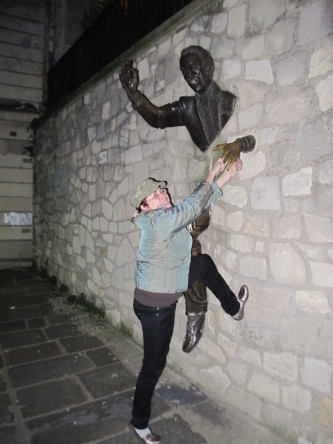 That's me, greeting a friendly Montmartre local.This sculpture by Jean Marais, Le Passe-Muraille (the Passer-Through-Walls) is based on the eponymous story by Marcel Aymé.