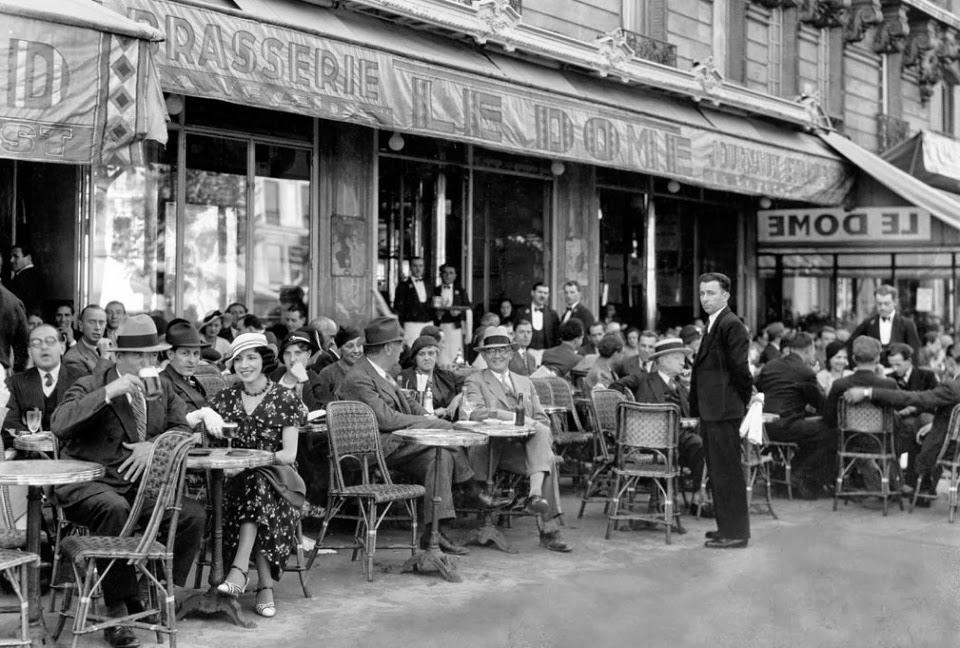 The Dome café in Montparnasse in Paris in the 1920s.