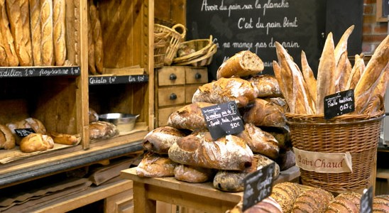 A  boulangerie  with its delectable array of fresh breads, warm from the oven.