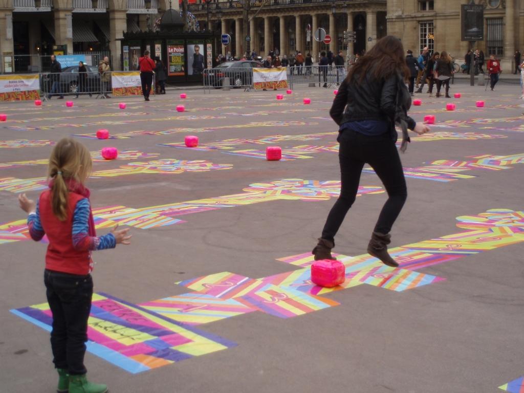 Hopscotch in Paris on the  Square du Palais Royal.
