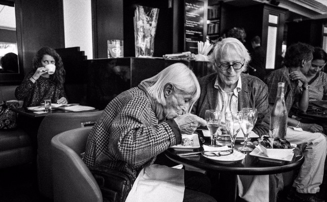 A couple enjoying lunch at the café  Les Editeurs  in Paris.