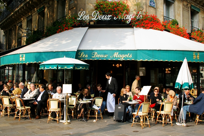 Les Deux Magots  across from the Church of  Saint-Germain-des-Prés.