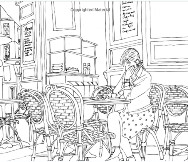 A page from  Paris Street Style: A Coloring Book
