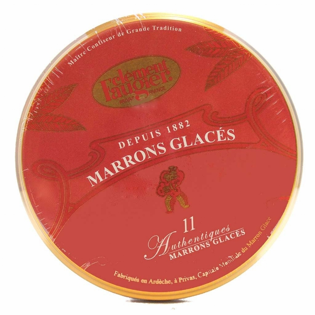 Delectable  Marrons Glacés Candied Chestnuts in Red Tin  by Clément Faugier