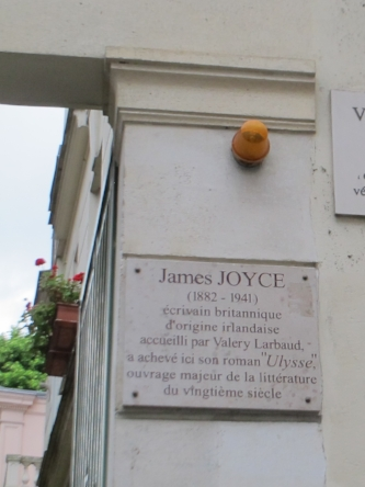 Plaque marking building where James Joyce wrote Ulysses.