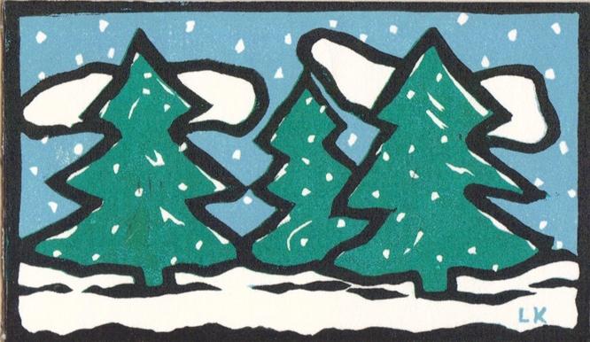Woodblock print of pine trees.