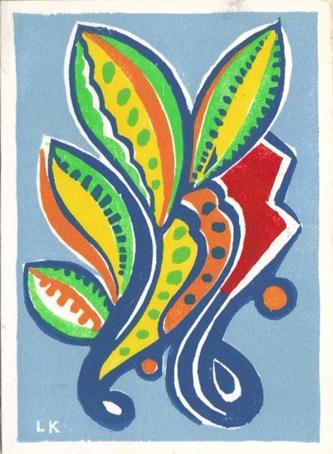 Holiday cornucopia or spray, woodblock print.