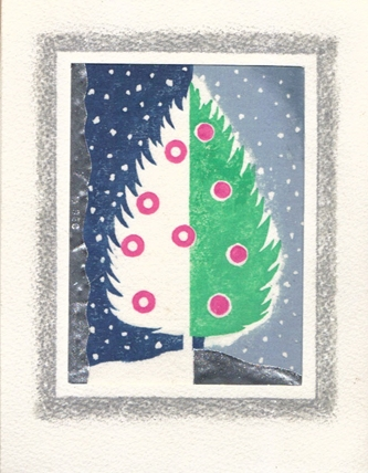 Bisected tree woodblock print with glitter and silver foil.