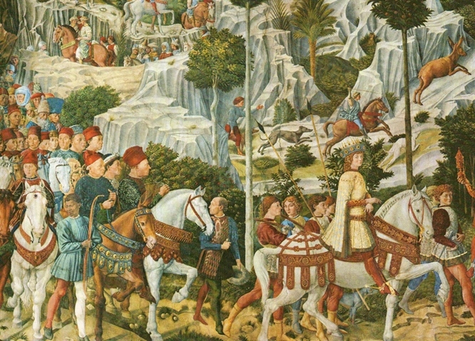Benozzo Gozzoli,  Journey of the Magi , 1459-61. Chapel of the Medici Palace.