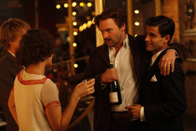 Corey Stoll in a very amusing turn as Ernest Hemingway and Daniel Lundh as the famous matador Juan Belmonte in  Midnight in Paris .