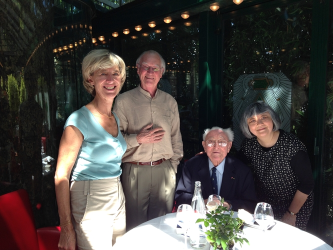 """Dining at  La Closerie les Lilas,  one of Hemingway's favorite """"haunts"""" where he wrote his short stories and polished  The Sun Also Rises.  We even meet Hemingway's ghost who regales us with tales of Paris past."""