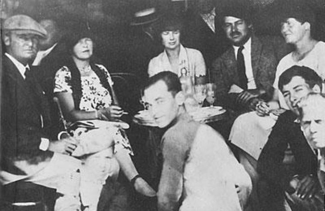 Back row, left to right: Gerald and Sarah Murphy, Pauline Pfeiffer, Hemingway, and Hadley Richardson in Pamplona 1925 during the time Hemingway and Pfeiffer were having an affair.