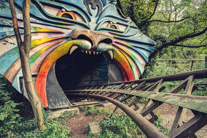Roller coaster in tiger's mouth at defunct East Berlin amusement park.