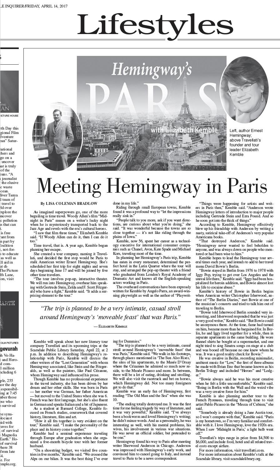 Scarsdale Inquirer Travellati Tours Hemingway's Paris Tour
