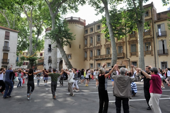 Dancing the Sardane in Céret, France.