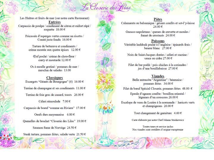 La Closerie des Lilas, terrace menu.