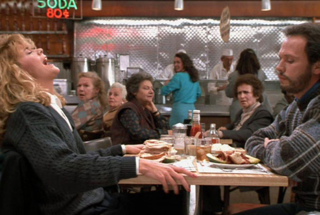 Sally reacting to her pastrami sandwich in  When Harry Met Sally.  Photo: Movies & TV Stack Exchange.