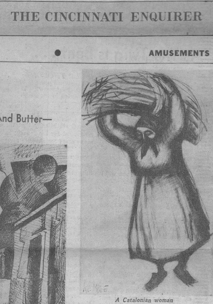 A Catalonian woman,  Lee Kemble, in  The Cincinnati Enquirer,  December 30, 1956.